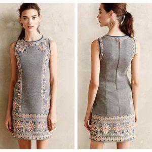 Maeve embroidered neoprene dress Anthropologie